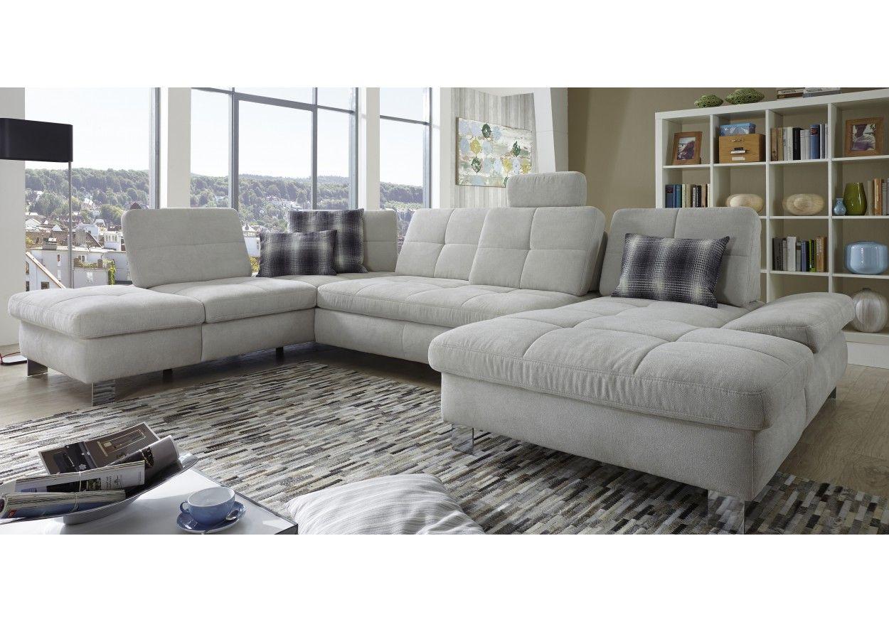 Graue Wohnlandschaft 55 00069 wohnlandschaft flachgewebe grau weiss sofa