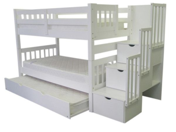 Bunk Beds Twin Over Twin Stairway White Trundle Girls Room