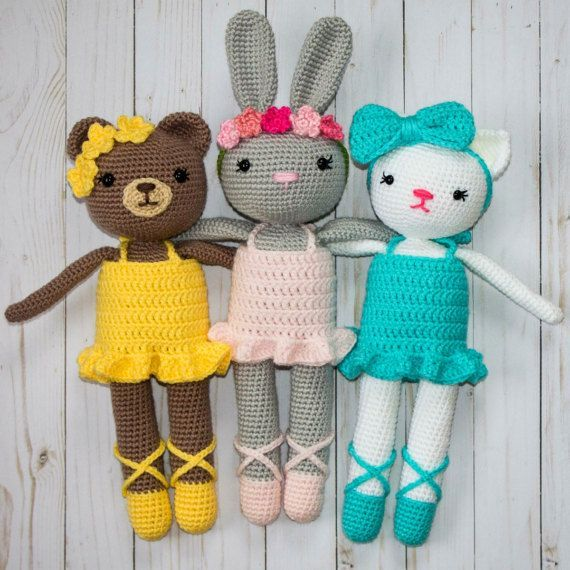 Crochet Ballerina Animal Pack- Bunny, Kitty, and Bear patterns ...