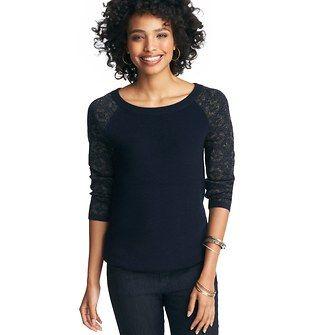 Foil Jacquard 3/4 Sleeve Sweater