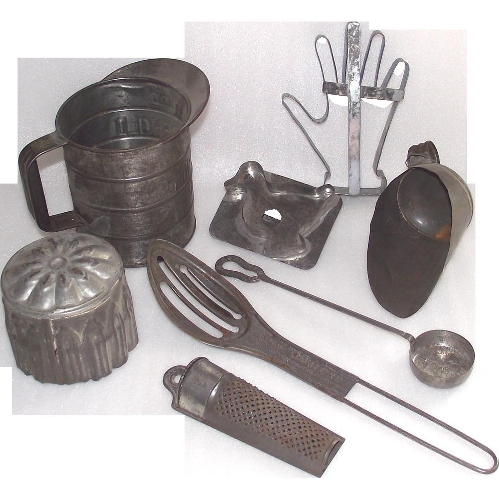 8 Piece Early Tin Kitchen Tools Terrific Unusual Mixed Lot Tin