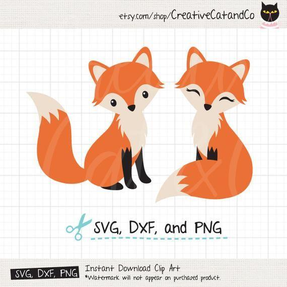 1c215003282ba Cute Fox SVG DXF Cuttable Sitting Fox Couple