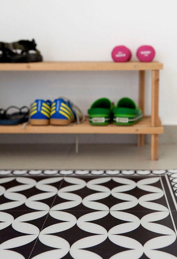 PVC vinyl mat Tiles Pattern Decorative linoleum rug Color Black