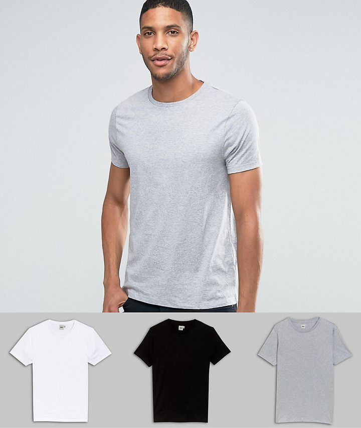 3ffbdd1aa DESIGN 3 pack t-shirt with crew neck in white/black/gray marl with ...