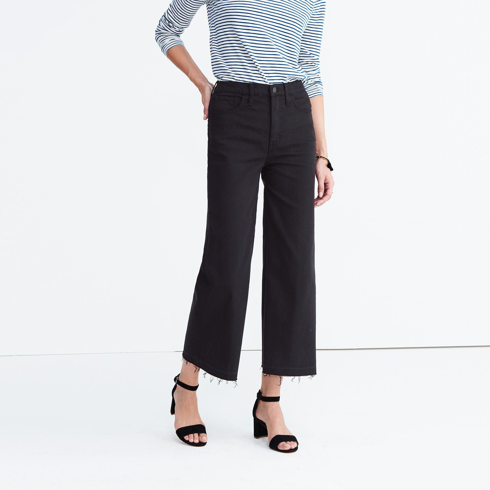 ee4c831598c4e Madewell Wide-Leg Crop Jeans in True Black  Drop-Hem Edition  60 ...