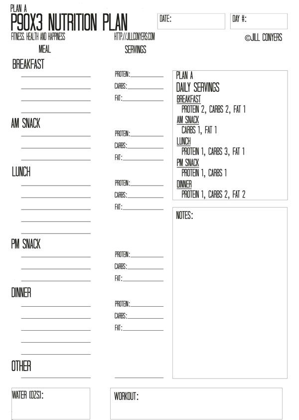 P90X3 Nutrition Plan Template jillconyers Fitness \ Workouts - fitness plan template