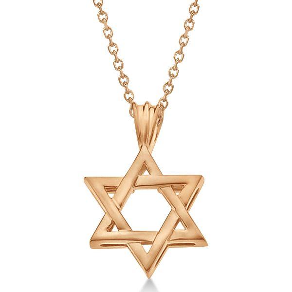 Classic Jewish Star of David Pendant Necklace Solid 14k Rose Gold - Allurez.com