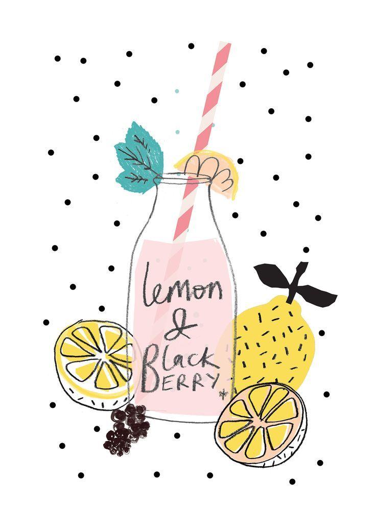 Lemon And Blackberry Drawing Drink Fruit Summer Illustration