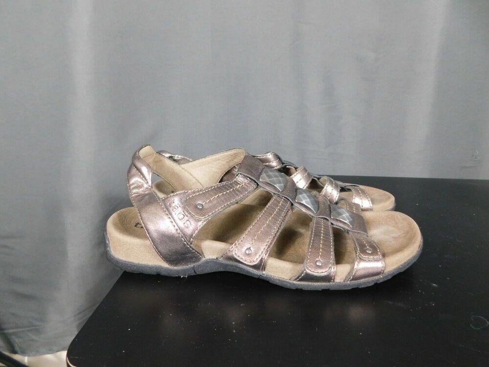 8971e985411f Taos Bronze Cleopatra Strap Adjustable Leather Medallion Sandals Slides US  6  fashion  clothing