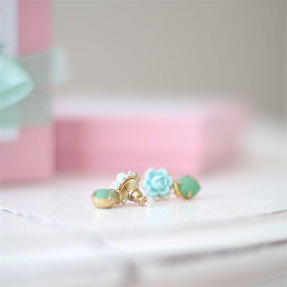 Robins Egg Rose Earrings with Vintage Kelly Green door NoraCate, $10.00