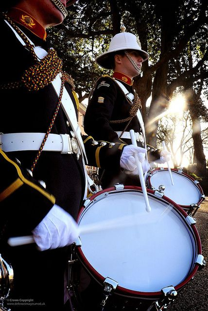 1c39021329bc6 Royal Marine drummers with the Royal Marine Band Service.