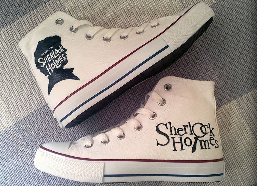 Sherlock Custom Converse Sneakers Hand Painted 100 Hand Painted