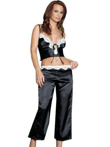 169e95fe3101 Womens Sexy Sleepwear Black White Satin Pajamas Womens Gift Idea Sizes   X-Large  Clothing