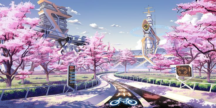 Cherry Blossom Biking Path Animated Concept Art BY-KING Anime