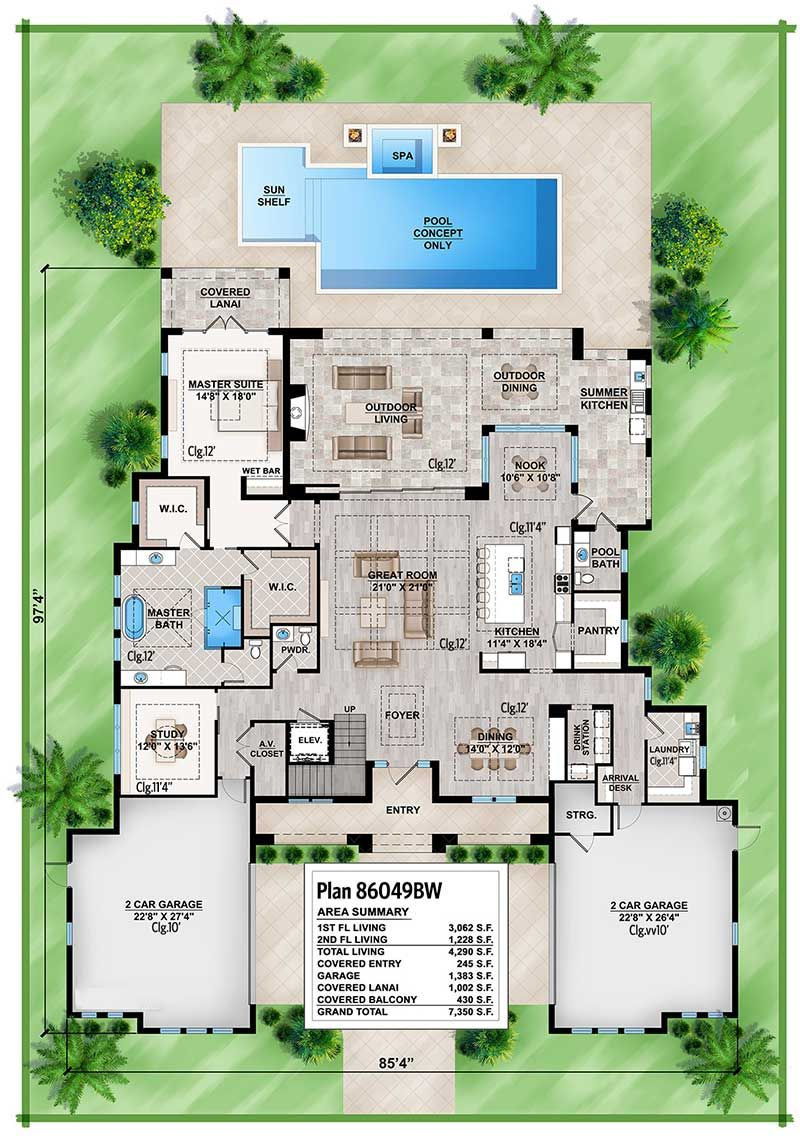 Plan 86049bw Florida House Plan With Open Layout Florida House Plans Mediterranean Style House Plans Mediterranean House Plans