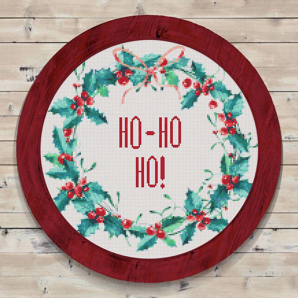 Christmas wreath cross stitch pattern hohoho instant pdf download