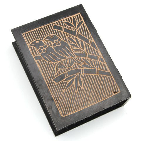 """UNGA WOOD BOX Hinged box carved from sustainable albesia wood featuring carved inlaid accents. 10"""" x 7.2"""" x 2.8"""". Handmade by talented artisans in developing countries. Imported."""