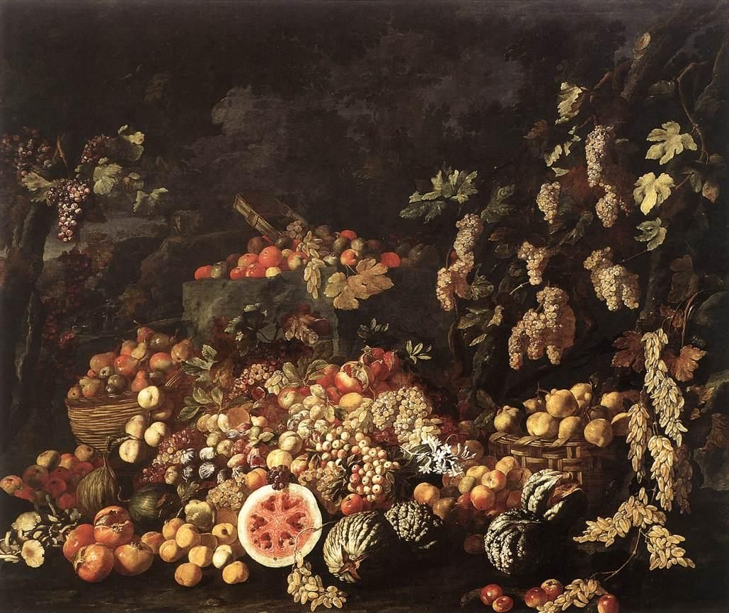 Giuseppe Recco StillLife with Fruit and Flowers