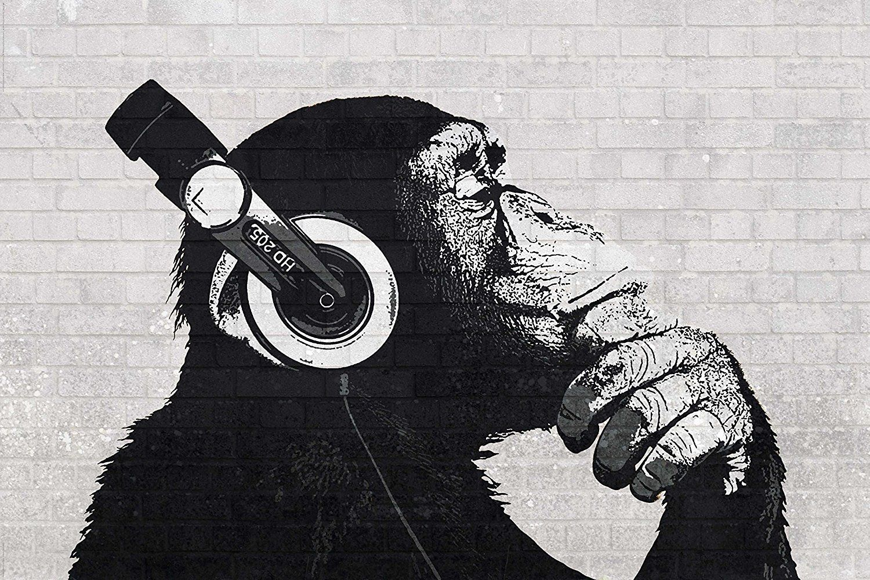 Reinders Monkey Headphones Street Art Poster 91 5 X 61cms 36 X