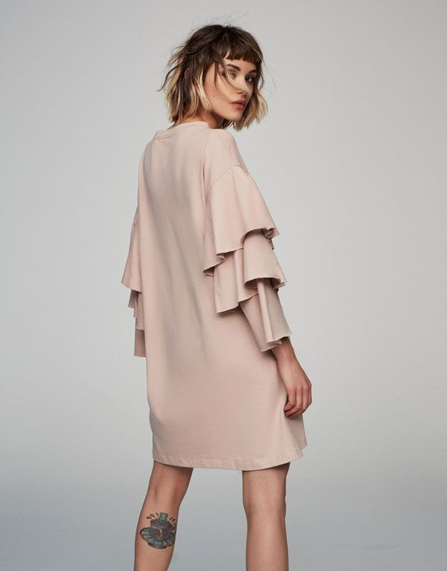Pull&Bear - woman - clothing - dresses - cotton dress with frilled sleeves  - dusty pink