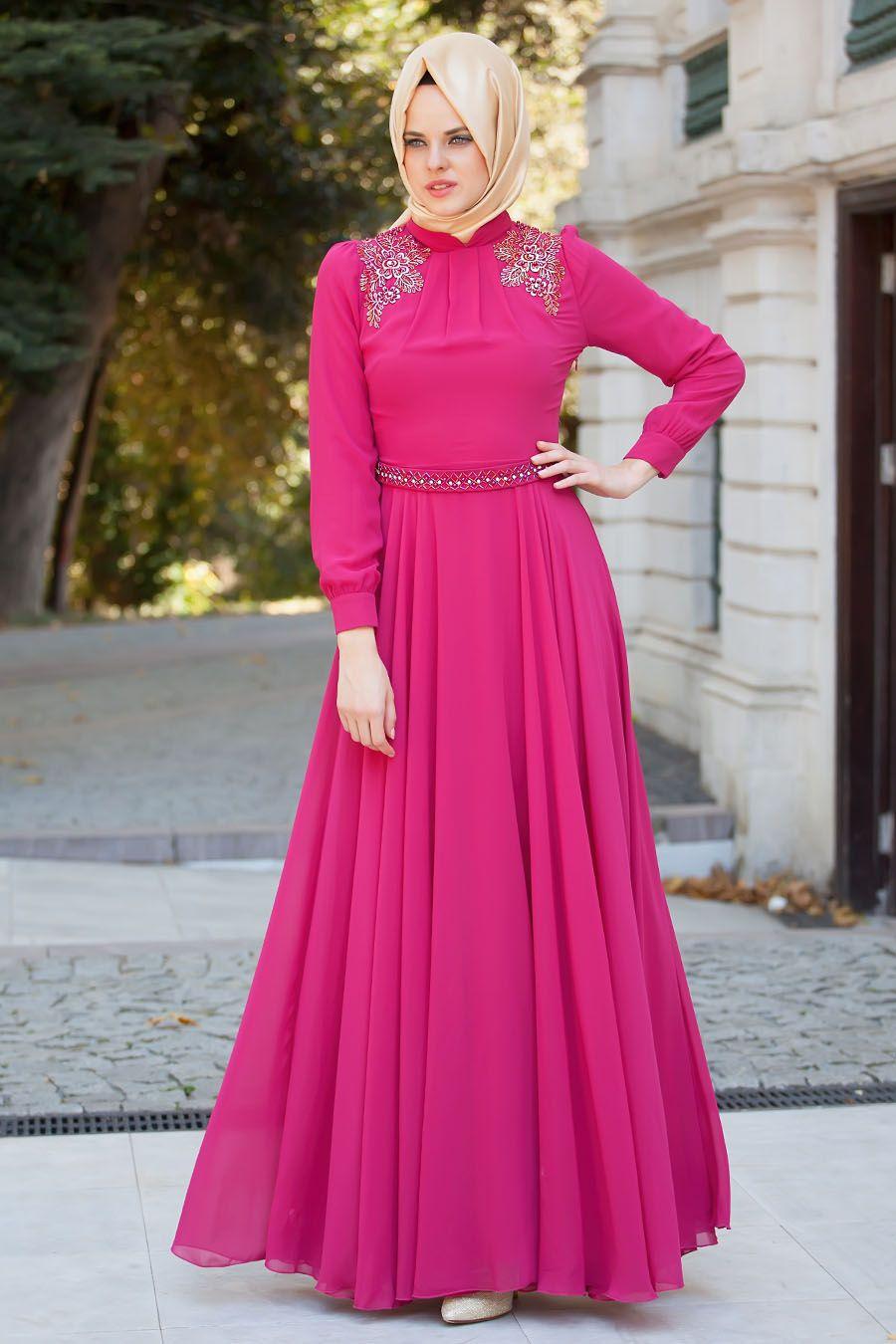 Tesettürlü Abiye Elbise - Fuşya Abiye - Tesetturisland.com | elbise ...