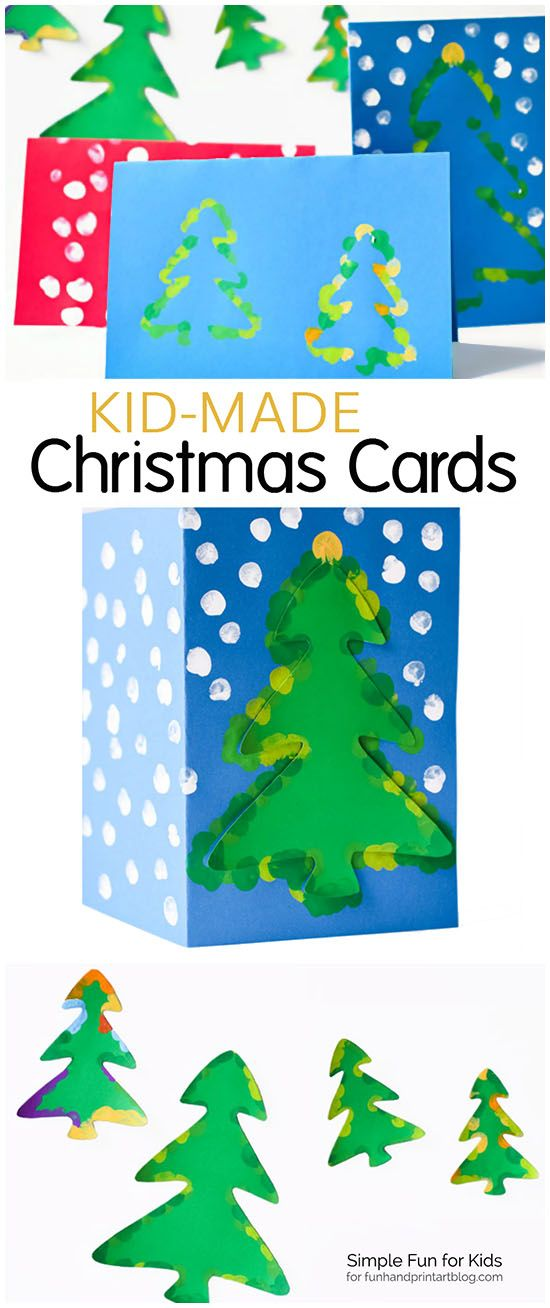 Fingerprint Christmas Tree Cards With Templates Fun Handprint Art Christmas Cards To Make Christmas Tree Cards Christmas Cards