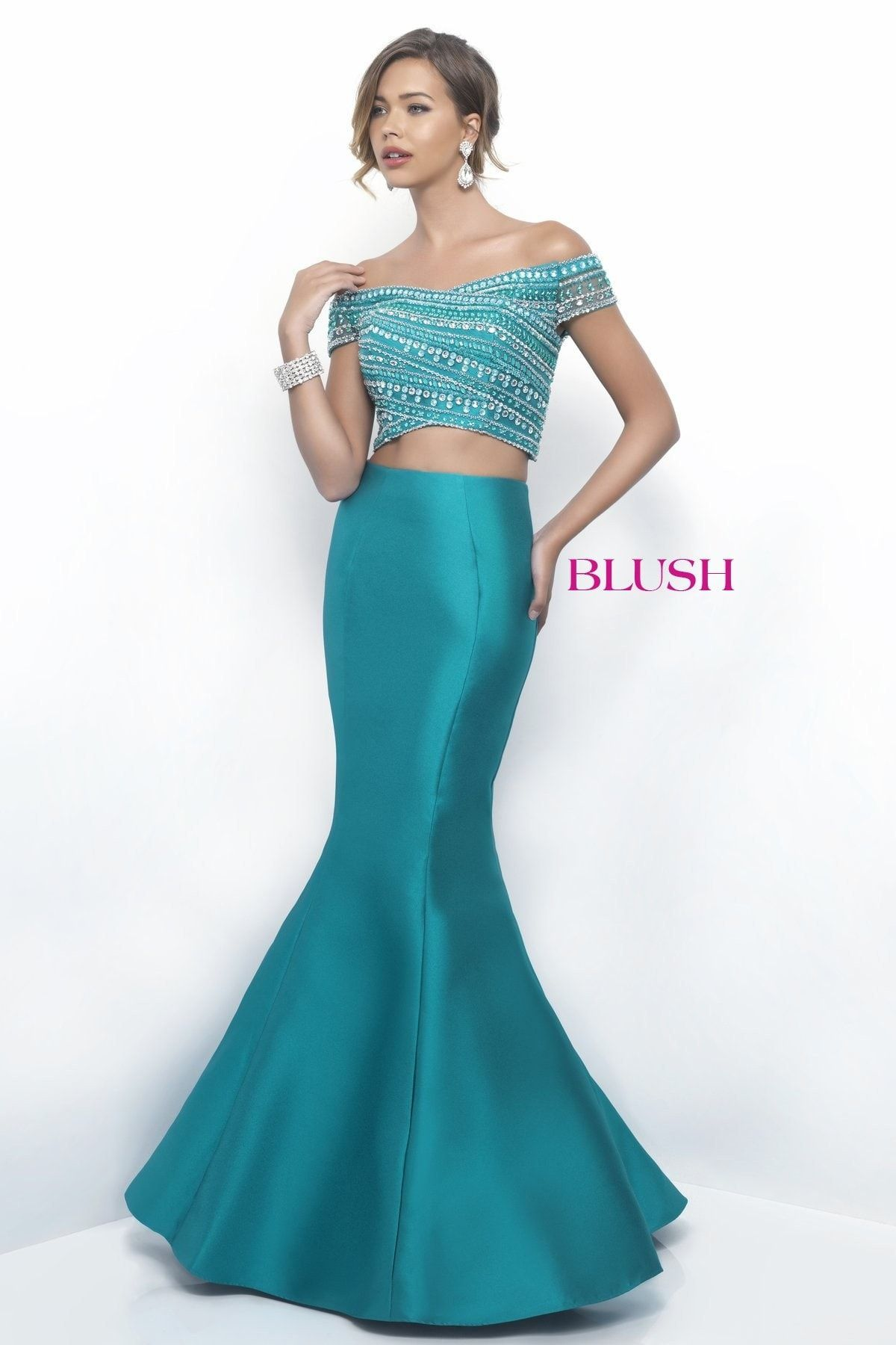 Blue and green prom dress  Blush Prom  Jade TwoPiece Prom Dress  Senior prom  Pinterest