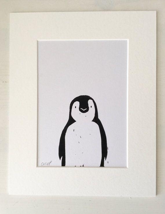 Linocut Print Penguin Print Birthday Gift Wedding Gift Home