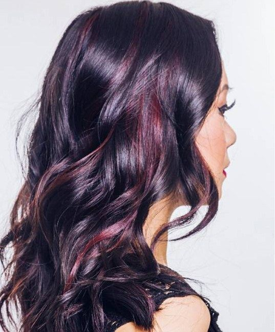 Glossy Black Waves With Muted Burgundy Highlights Hairstyles