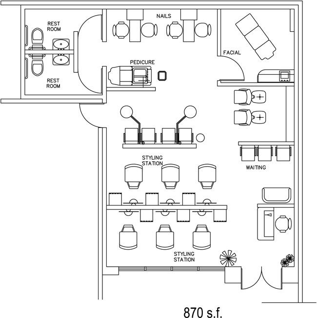 salon floor plan design layout - 870 square feet | salon / spa