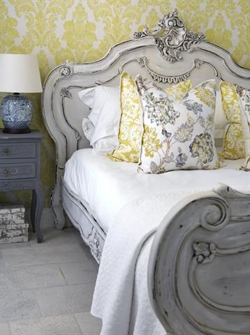 Bedroom   Gray painted Bed with Yellow Damask Wallpaper  White Lines with  Yellow and Gray. Bedroom   Gray painted Bed with Yellow Damask Wallpaper  White