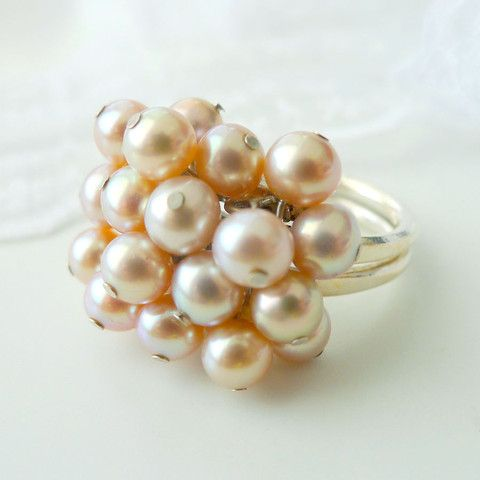 Handmade & design by local Canadian jewelry maker, unique one-of-a-kind Japanese pink pearl sterling silver ring, adjustable ring size.