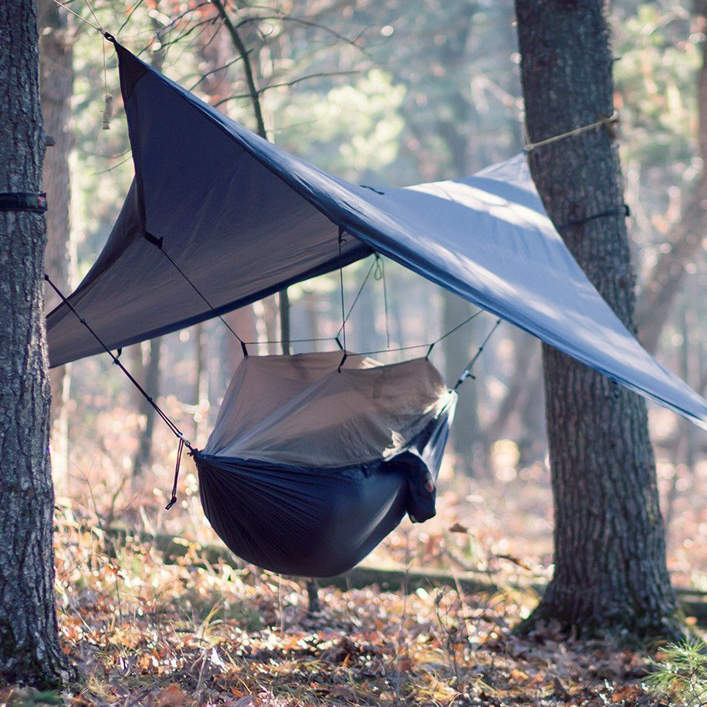 A Hammock, Sleeping Canopy Covered By A Tarp... All In A Little Itty Bitty  Bag! #camping #outdoors #sleeping #campingbags