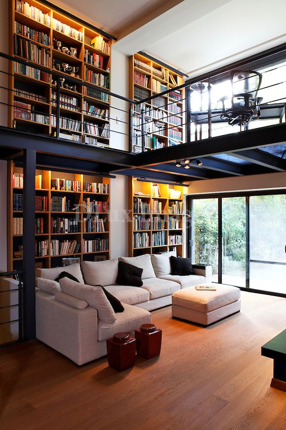 Modern Contemporary Living Room With Mezzanine Library