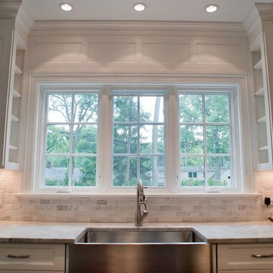 Carrara Subway Tile Paneling Above Window Shelves On The Inside Of Cabinets Kitchen Dining