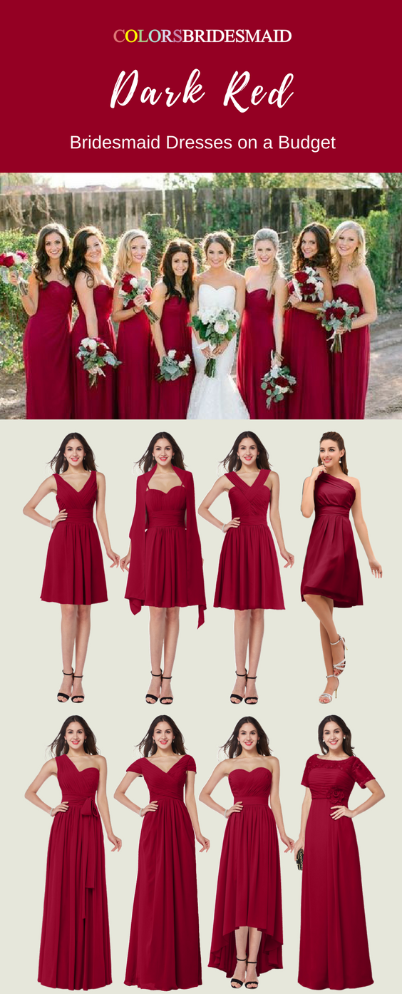 Most Welcomed Dark Red Bridesmaid Dresses In Long And Short Styles Red Bridesmaid Dresses Short Dark Red Bridesmaid Dresses Red Bridesmaid Dresses