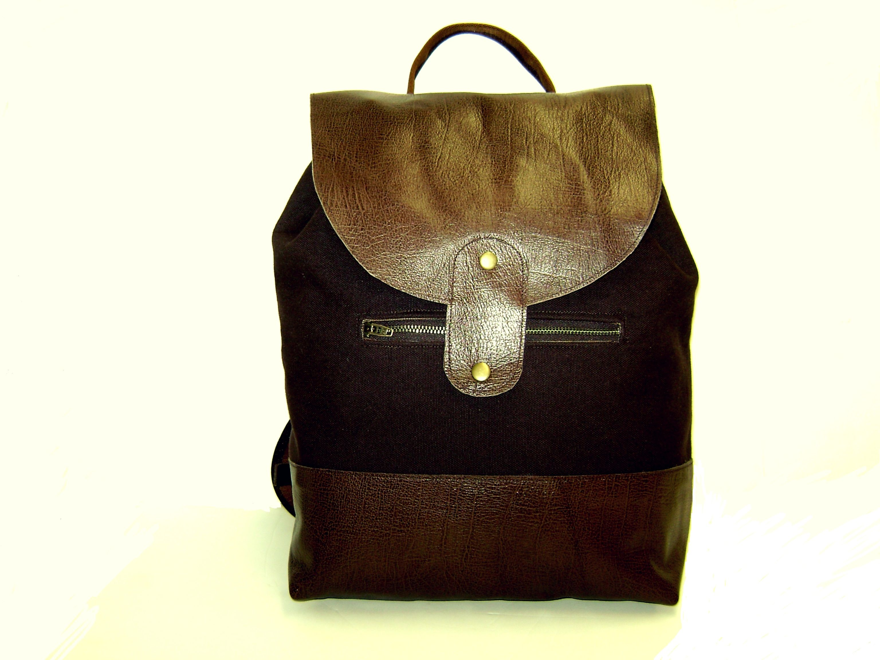 Jackson Backpack in chocolate canvas and leather handcrafted in ...