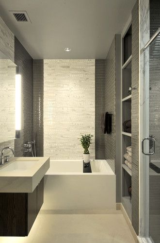 Modern Bathroom Small Design Pictures Remodel Decor And Ideas Page 24 Dark Tile On Side Walls With Linear Artistic Going Up Wall As You