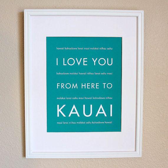 Hawaii Travel Art, I Love You From Here To Kauai, 8x10