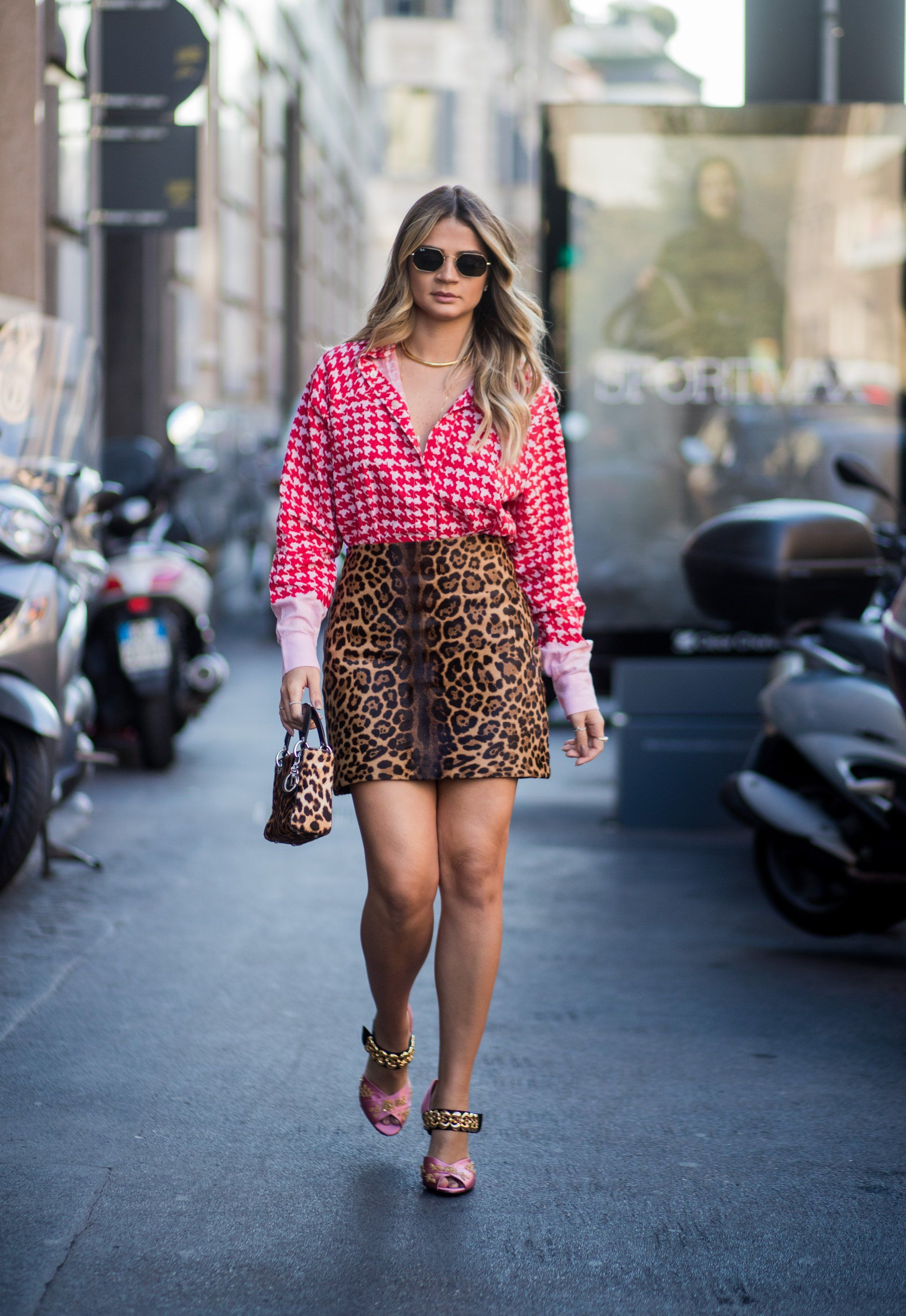 b48c9c6f69 Wear a Checkered Shirt With a Leopard-Print Skirt