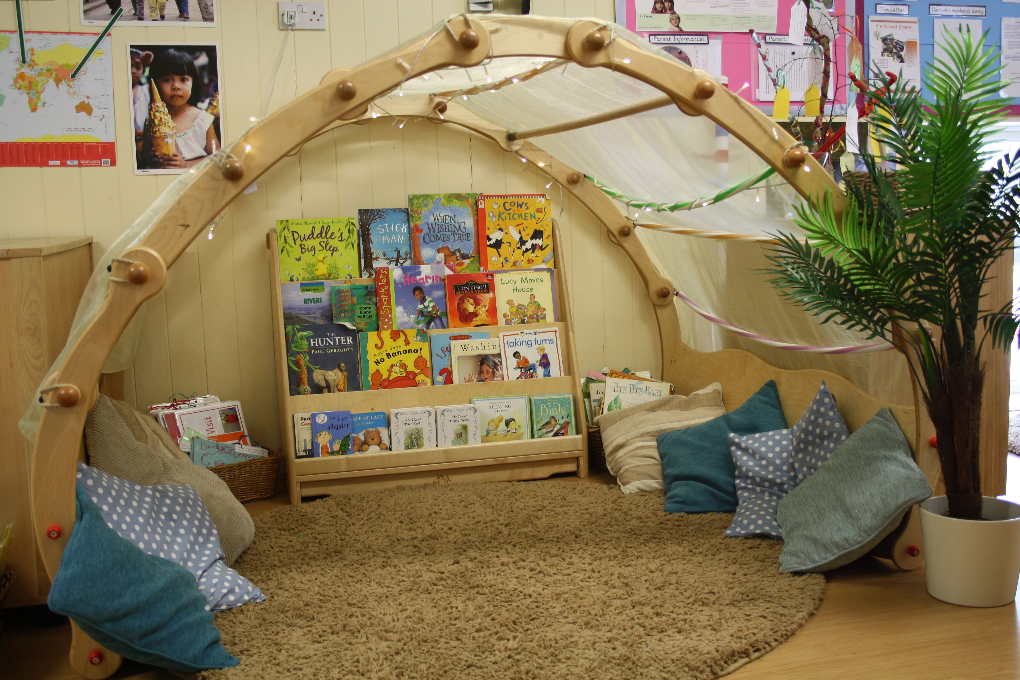 A Place To Talk Our Cosy Cave In Pre School Gives The Children A Space To Look At Books With Peers A Preschool Rooms Dream Nurseries Reading Corner Classroom