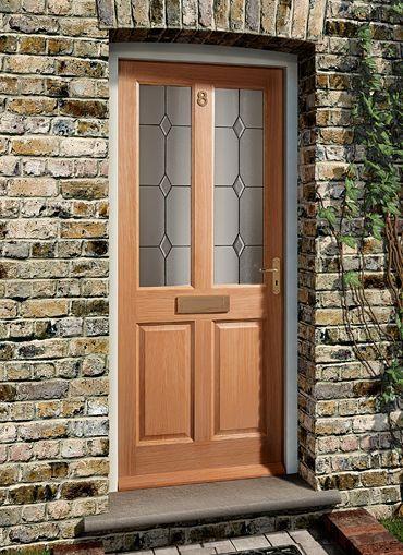Edwardian Diamond Oak External Door With Triple Glazing And Lead Work