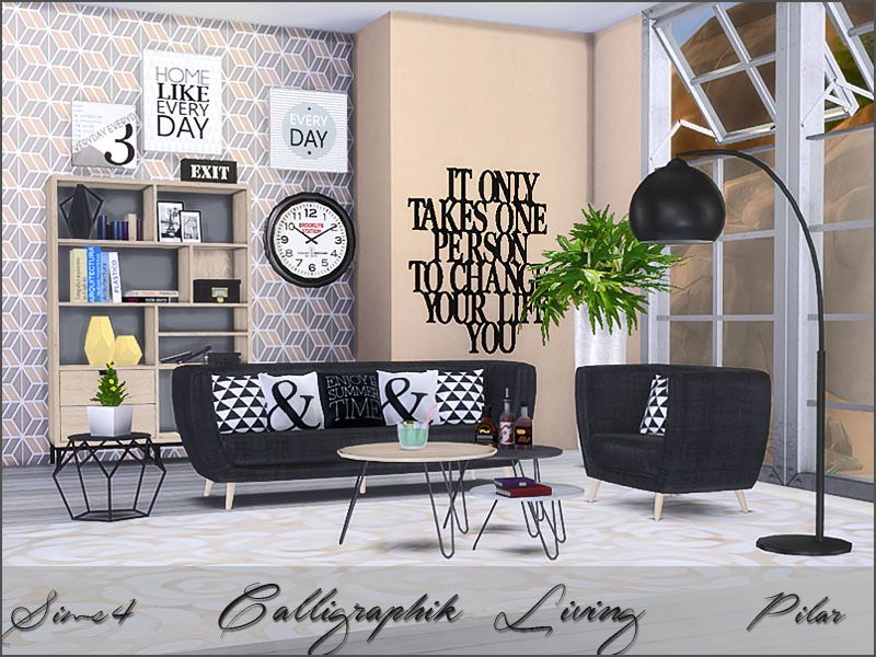 Calligraphic trend modern graphic structured found in for Modern living room sims 4