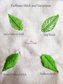 Royce's Hub: Embroidery Stitches For Leaves : Fishbone Stitch and  Variations - 2