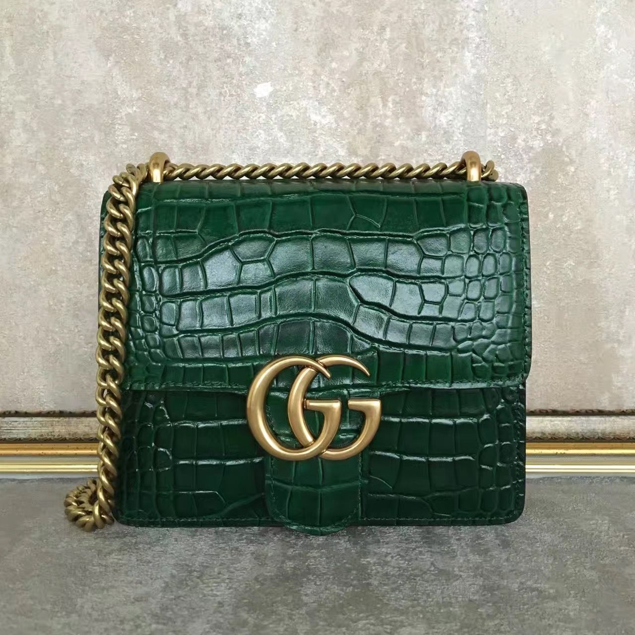 be0c3541938d Gucci 431384 GG Marmont Crocodile Calf Leather Small Shoulder Bag Green 2016