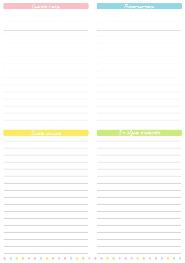 Lista de cosas por hacer clasificadas, imprimible gratis ...
