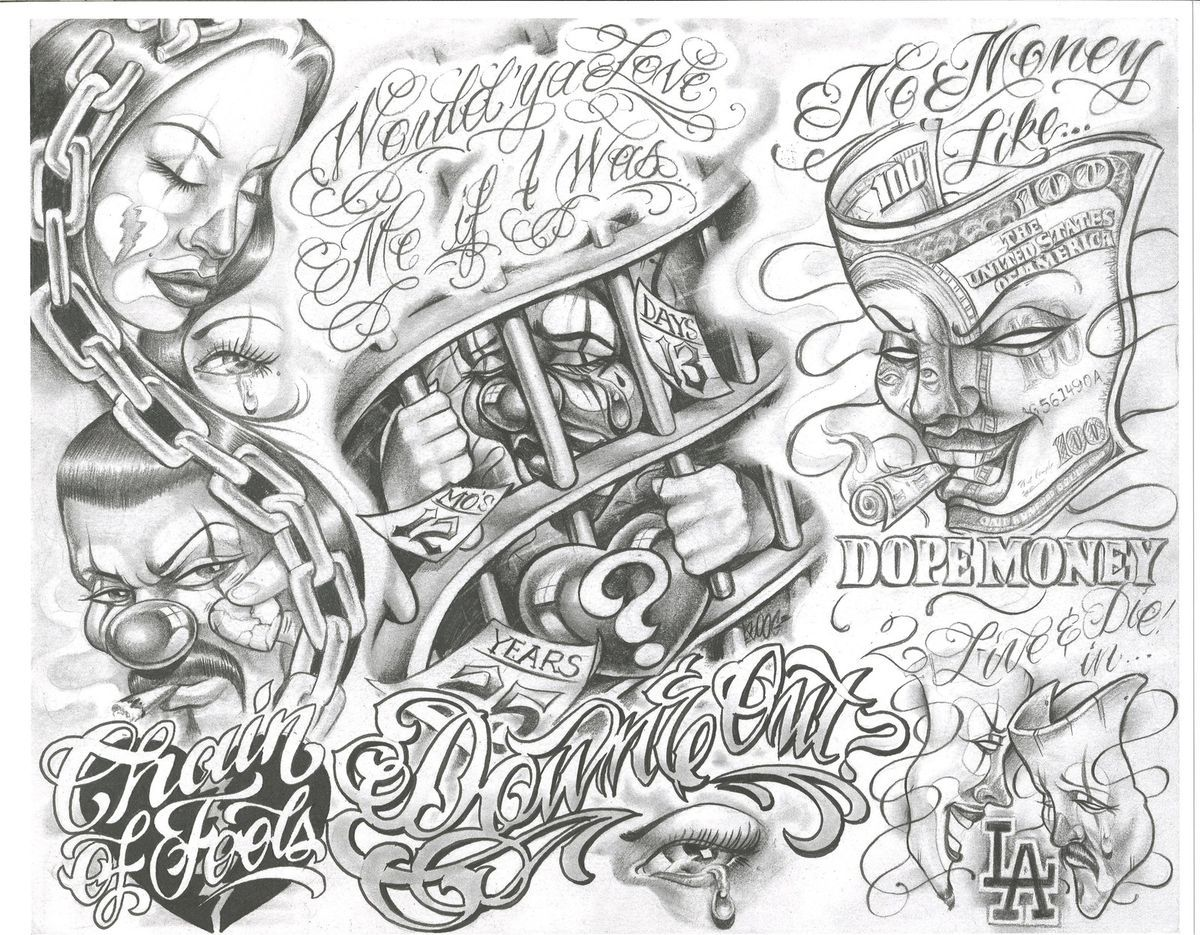 Tattoo Flash Art Black And White Guitar: Really Like The Chain Of Fools Concept. Tattoo Flash