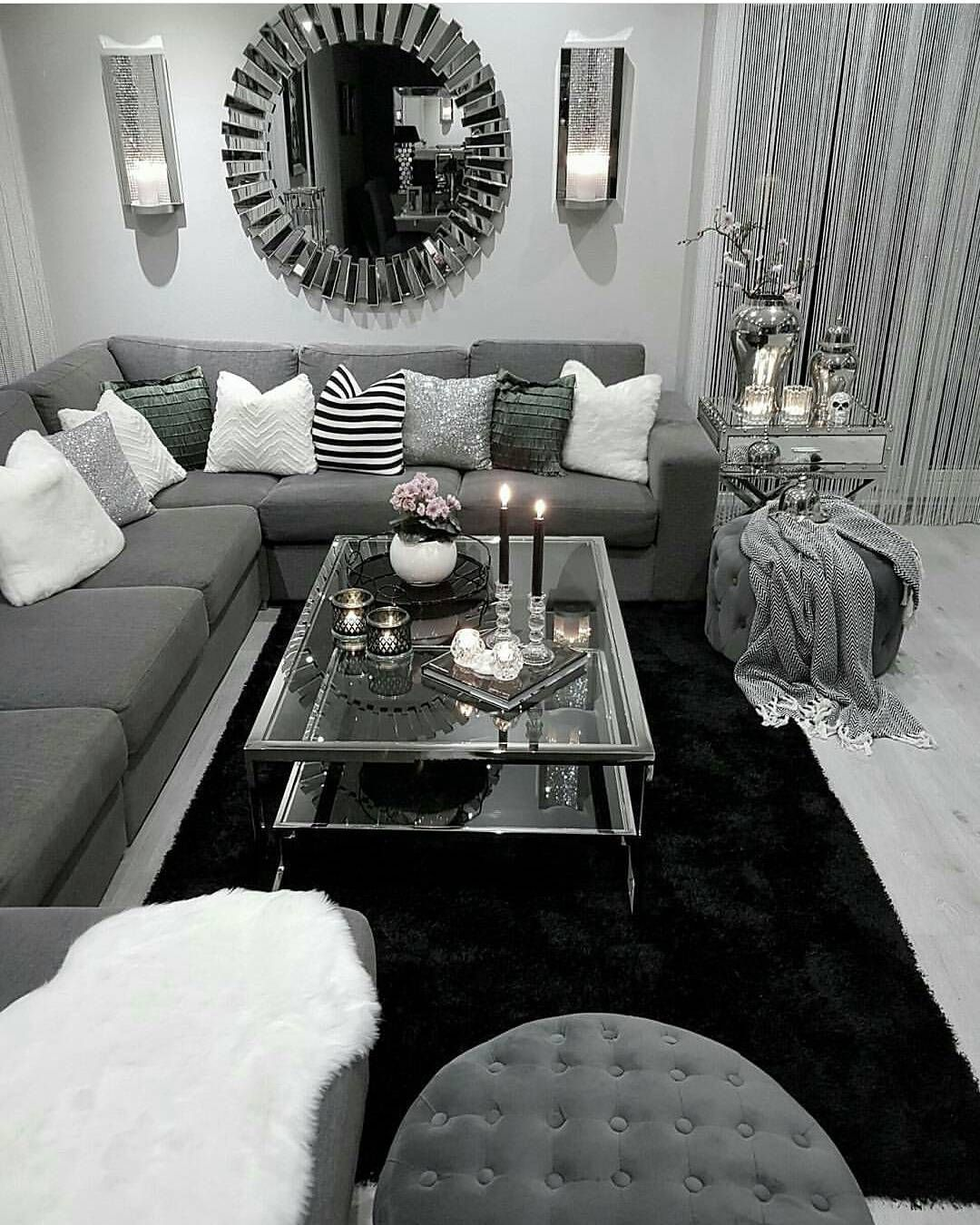 Living room just switch the black and whites future - Black and white and grey living room ...