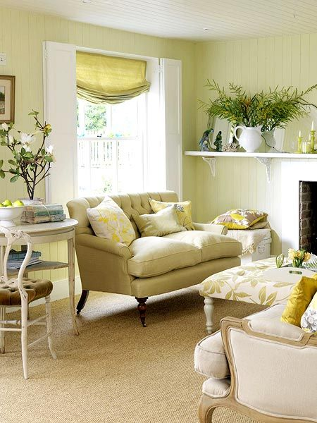 Create a serene atmosphere with muted hues here celery Yellow green living room