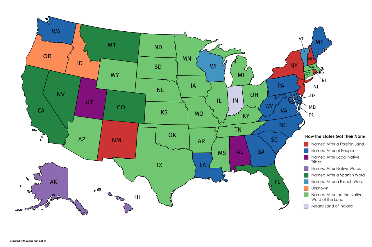 How Each US State got its Name. | Map, U.s. states, Us map